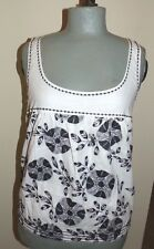 MAX STUDIO Studio M Black/White Embroidered Floral Sleeveless Top  Size MD NWT