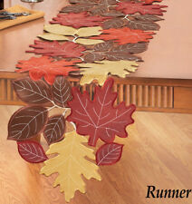 ELEGANT Faux Suede FALL LEAVES Thanksgiving TABLE RUNNER, NEW!