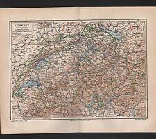 Landkarte map 1890: Schweiz. Europa Helvetia Maßstab: 1 : 1.400.000