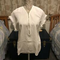 Ladies PHASE EIGHT White Ivory chiffon blouse top size 12 Rrp £55