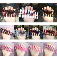 24Pcs Fashion False  Nails Acrylic Gel Full French Fake Nails Art Tips AE