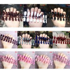 24Pcs Fashion False Nails Acrylic Gel Full French Fake Nails Art Tips Wf /E