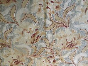 Antique French Nouveau Tulip Floral Cotton Fabric ~ Gray  Burgundy Bordeaux Tan