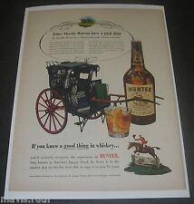 Print Ad DISTILLERY 1952 Hunter Whiskey James Hansom Cab Horse Carriage Coach.