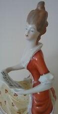Kezzel Festett Lady w/ Sheet Music #1831 Hollohaza Hungary Porcelain Figurine