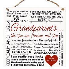 Personalised Grandparents Gift Idea Nana Grandad Grandma Plaque Christmas W315