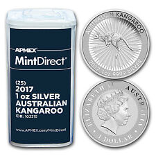 2017 Australia 1 oz Silver Kangaroo (25-Coin MintDirect® Tube) - SKU #103315