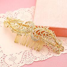 Gold Bridal Hair Accessories Peacock Feather Tone Rhinestone Hair Pin Hair Combs