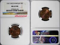 Mozambique Portuguese Colony Bronze 1957 50 Centavos NGC MS63 RB KM# 81