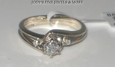 MAGNIFICENT ESTATE 14K WHITE GOLD DIAMOND RING BAND .23 CARATS FIANCEE Size 6