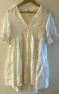 SUNDANCE CATALOG Jasmine Eyelet Ivory Dress PETITE EXTRA EXTR SMALL Orig $138