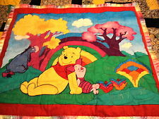 POOH BABY QUILT HANDMADE RAINBOW SATIN BINDING WITH SM PILLOW CASE