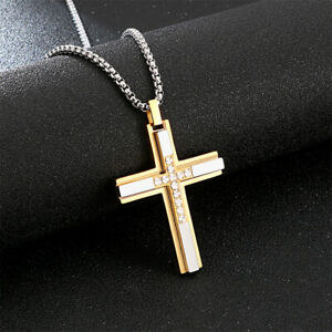 Mens Fashion Necklace Stainless Steel Crystals Religion crucifix Cross Pendant
