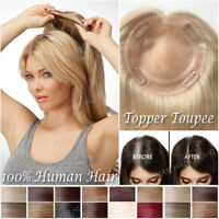Clip In 130% Remy Human Hair Hairpiece Top Piece Toupee Extensions Topper Women