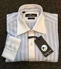 "CLAUDIO LUGLI White Collar Shirt. China Blue Stripe. XXL. 48""Chest. BNWT."
