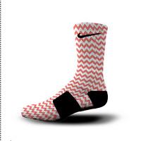 Custom Nike Elite Socks All Sizes CHEVRON RED