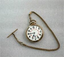 ILLINOIS BUNN SPECIAL 60-HOUR 21j MOTOR BARREL RAILROAD POCKET WATCH SERVICED