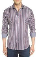 Bugatchi Shaped Fit Stripe Sport Shirt, NWT, S