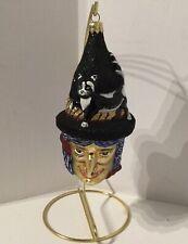 Slavic Treasures Poland Black Cat Witch Halloween Blown Glass Ornament