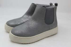 NWT Cat & Jack Girls Shoes Sparkling Silver Glitter Slip on Ankle Boots SIZE 9