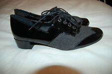 NWOB Sam Edelman Black Gray Fashion Oxfords Loafers Lace Up Shoes Size  6 M