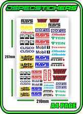 SCALE STICKER SHEET R/C CRAWLER 1/10 DRIFT DRAG CAR BRAND JDM STICKERBOMB RC