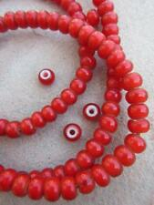 Red 'White Heart' Beads (5x7mm)  [68234]