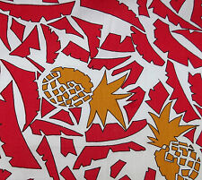 "Vintage cotton fabric 54"" wide FRUIT print pineapple palm trees BY THE METRE red"