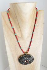 Collier pendentif tibétain corail turquoise