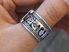 Half Inch Wide Solid Adjustable Tibetan Filigree OM Mani Dotted Amulet Ring