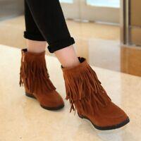Womens Suede Booties Hidden Wedge Heel Round Toe Tassel Ankle Boots Side Zip