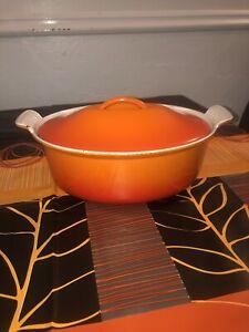 Le Creuset Cousances Size 24 Volcanic Orange Vintage Lidded Casserole Dish