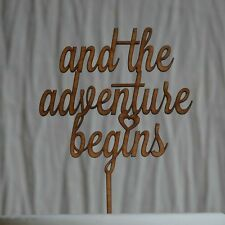 """wooden """"and the adventure begins"""" cake topper, wedding, engagment cake decor"""