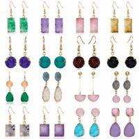 Fashion Women Natural Stone Earrings Hook Resin Drop Dangle Boho Jewelry Gift