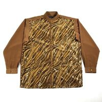 Pronti Collection By Phita Mens XL Button Down Brown Gold Shiny Sequins Western