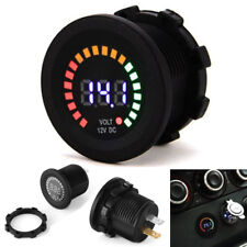 12V Waterproof Screw-on Volt Meter Digital Car Boat Colorful LED Voltage Gauge
