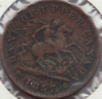 1857 -  Bank of Upper Canada - Dragon Slayer - 1 Penny - Superfleas - PC-6D