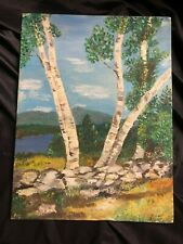 "Original oil on canvas painting 9""x12"" board-mounted stone fence, birches, lake"