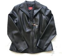 NWT Cole Haan Women's Size 8 Black Lightweight Fine Leather Jacket Zippered