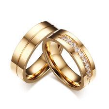 Neues Angebot2 Partnerringe Edelstahl Zirkonia Trauringe Farbe: Gold Verlobungsringe