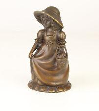 Bronze figürliche Glocke Mädchen in schickem Kleid neu niedlich 99937632-dss