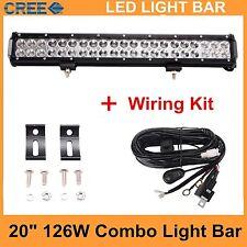 20INCH 126W CREE Led Light Bar Work Driving Offroad Combo beam+wiring kit 12V24V
