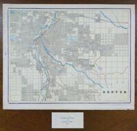 "Vintage 1900 DENVER COLORADO Map 14""x11"" ~ Old Antique Original CURTIS PARK"