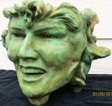 Handmade Folk Art Green Goddess Sculpted Plant Pot, by Claybraven