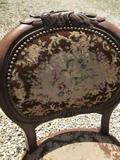 Vintage French Chair Carved Rose Crest Needle Point Seat