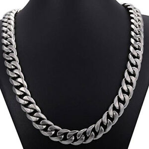 """15mm 24""""Heavy Polished Silver Cut Curb Cuban Mens Chain Stainless Steel Necklace"""