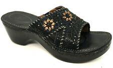 Ariat Black floral slip on leather sandal Sz 8 B leather slide Chunky Heels EUC