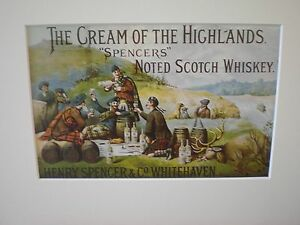 """Reproduced Vintage Adverts - """"Spencers""""  circa 1895"""" showcard  Scotch Whisky"""