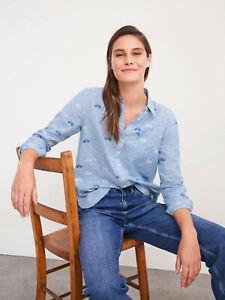 WHITE STUFF Womens Blue Organic Cotton Jersey Collar Tunic Blouse Shirt Top 6-18