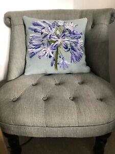 Elizabeth Bradley completed Agapanthus needlepoint kit made into cushion